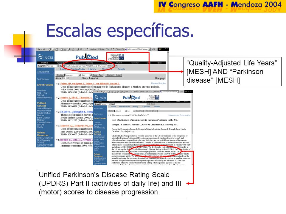 Escalas específicas. Quality-Adjusted Life Years [MESH] AND Parkinson disease [MESH]